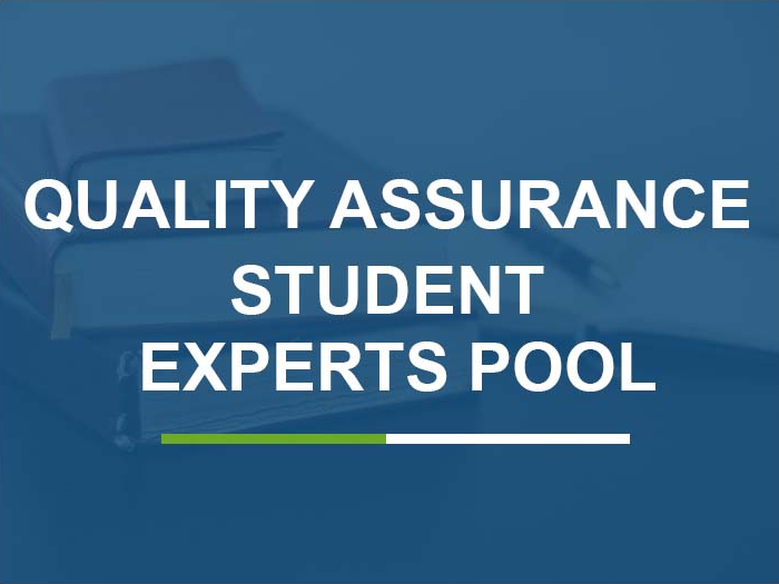 Quality assurance student experts pool